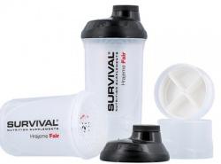 Survival Šejkr transparentní s čiernym víčkem so zásobníkmi 600 + 150 ml