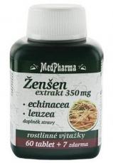 MedPharma Ženšen 350 mg + echinacea + leuzea 67 tabliet