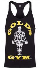 Gold's Gym Pánske tielko čierne so žluto bielym logom