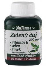 MedPharma Zelený čaj 200 mg + vitamín E + selen + zinok 67 tabliet