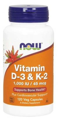 Now Foods Vitamin D3 a K2 1000 IU 120 kapsúl