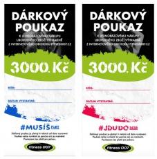 Darčekové poukazy Fitness007 3000 Kč