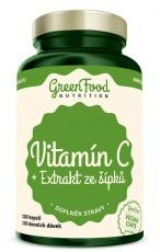 GreenFood Vitamín C + Extrakt zo šípkov 200 mg 120 kapsúl