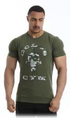 Gold's Gym Pánske tričko Slim Fit Stretch GGTS144 khaki