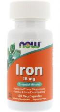 Now Foods Iron Ferrochel (železo chelát) 18 mg 120 kapsúl