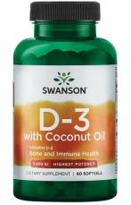 Swanson Vitamín D3 5000 IU s kokosovým olejem 60 kapsúl