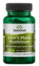 Swanson Lion's Mane Mushroom 500 mg 60 kapsúl