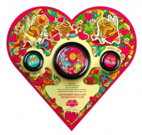 Lifelike Valentínske srdce 300 g - kešu s bielou čokoládou + maliny a kakao