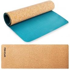 Spokey SAVASANA jóga podložka na cvičenie korková 4 mm - modrá