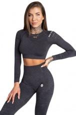 Gym Glamour Crop Top Grey Melange