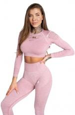 Gym Glamour Crop Top Pink Melange