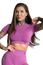 Gym Glamour Crop Top s krátkym rukávom Pink Ombre - XS
