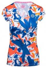 BIDI BADU Dámske tričko Bella 2.0 Tech V-Neck Tee Dark blue/neon red