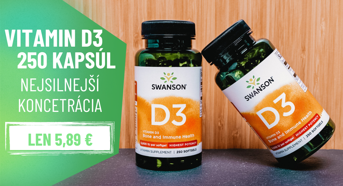 Swanson Vitamín D3 5000 IU 250 kapsúl